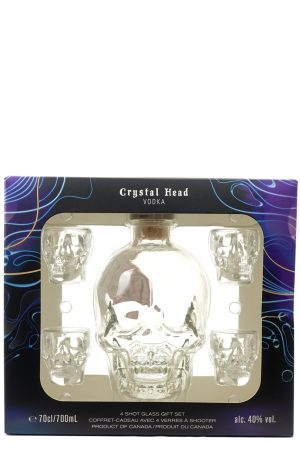 Crystal Head Skull Vodka Gift Set with 4 Glasses 70cl