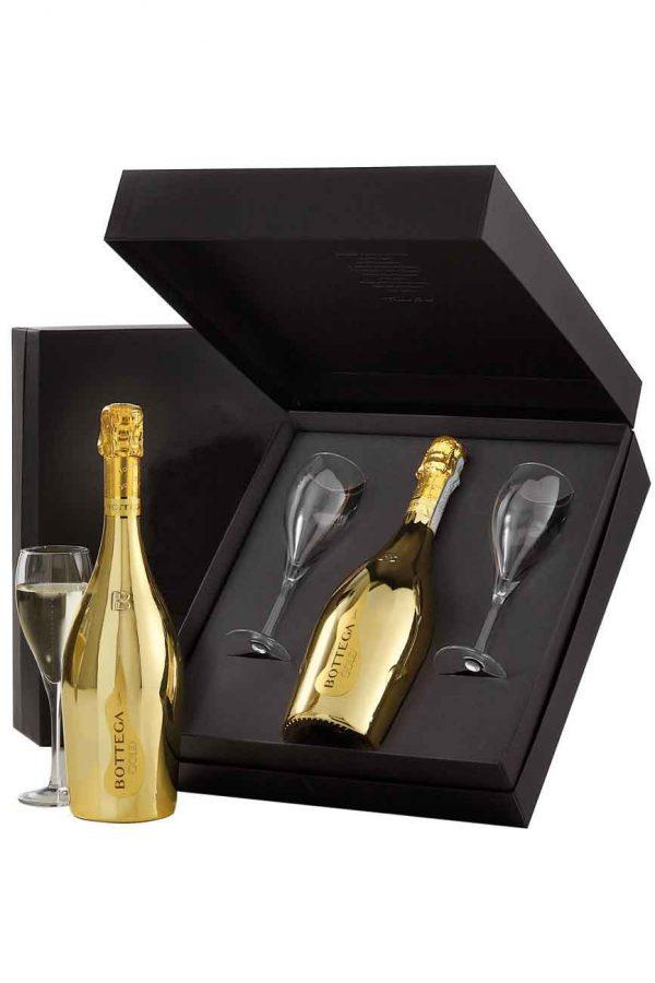 Bottega Black Gold Prosecco Gift Set with 2 Glasses 75cl